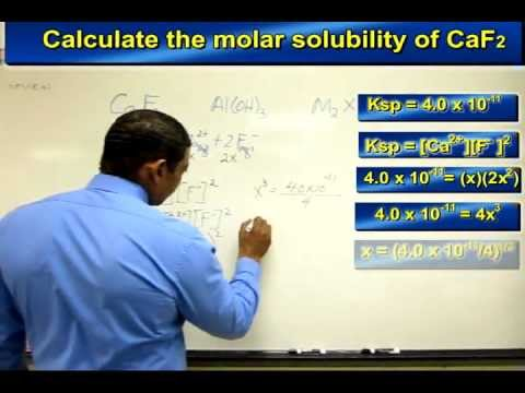 MOLAR SOLUBILITY OF A COMPOUND BASED ON Ksp BY MR. B