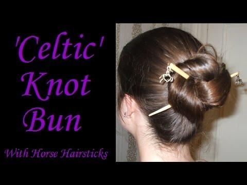 'Celtic' Knot Bun with Horse Hairsticks