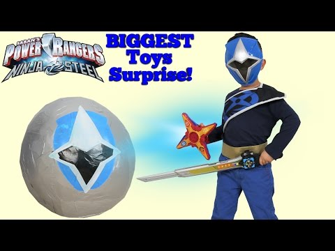 Power Rangers Ninja Steel BIGGEST Toys Surprise Egg Opening Fun Shuriken Sentai Ninninger Ckn Toys