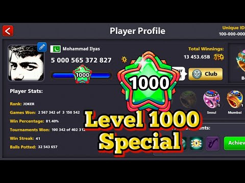 8 Ball Pool - 1000 Level First Ever Highest level - 5000b