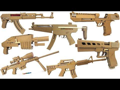 My Cardboard Arsenal - Glock, Ak47, Sniper, M4, Mp5 ect.