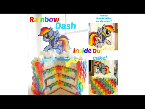 INSIDE OUT RAINBOW DASH CAKE w/ CANDY TOPPER! - MISS TRENDY TREATS