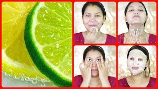 How to do facial at home for instant bright fair glowing skin/very effective lemon facial