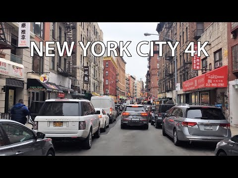 Driving Downtown - NYC's Chinatown 4K - New York City USA