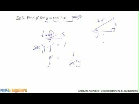 9. Finding the derivative of Inverse Tan arctan