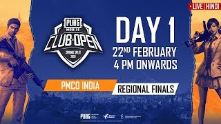 [Hindi] PMCO India Regional Finals Day 1 | Spring Split | PUBG MOBILE CLUB OPEN 2020