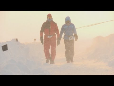 Competitors take part in the North Pole Marathon in extreme conditions of -41 degrees Celsius