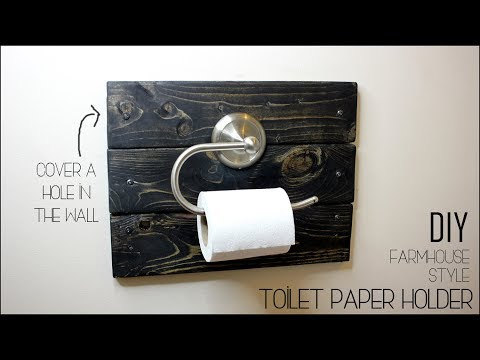 DIY Farmhouse Toilet Paper Holder & How To Cover a Hole In The Wall - Only $2 in Lumber