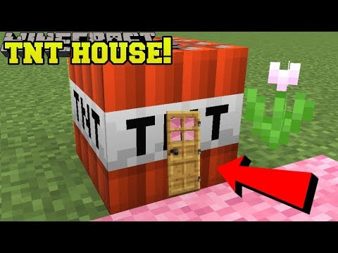 Minecraft: TNT HOUSE BLOCK!!! (SURVIVE INSIDE REAL TNT!) Custom Command