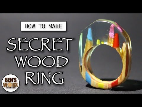How to make a secret wood ring - pencils and resin