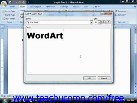 Word 2010 Tutorial Inserting WordArt-2007 Microsoft Training Lesson 13.3