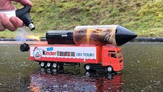 Rocket powered Kinder Surprise Truck !! Amazing Fly