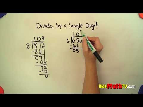 Divide numbers by one place numbers video for students to learn