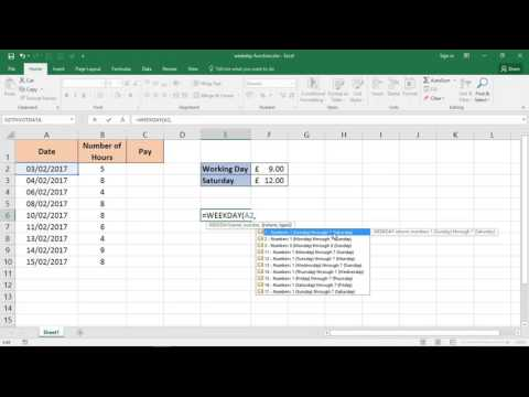 How to Use the WEEKDAY Function in Excel