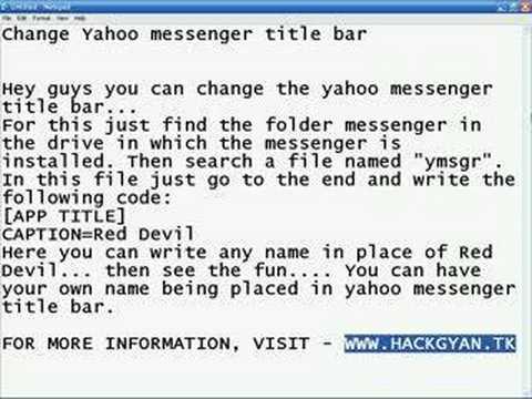 Change Yahoo Messenger Title Bar