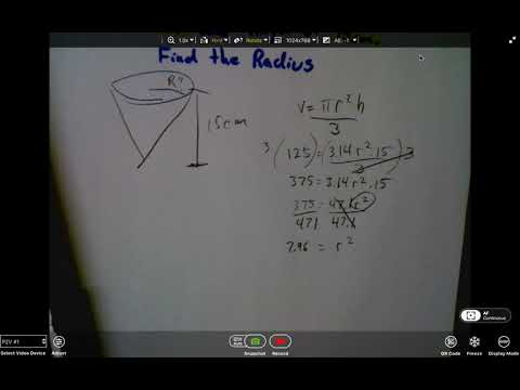 Find Radius given volume and Height