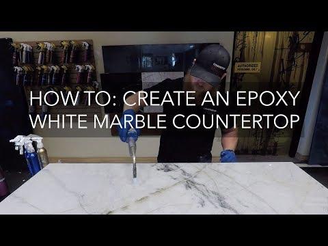 Countertop Epoxy How To White Marble Epoxy Countertop
