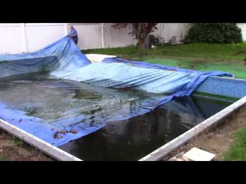 UNCUT:  Pool Opening 2018, Part 1 - Removing The Leaf Nets And Cover