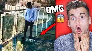 Glass Bridge Cracks Under Tourist