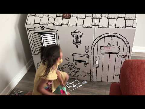 Silly Fun With Blankets and Big Cardboard Play House - Learn Colors - Kinder Playtime