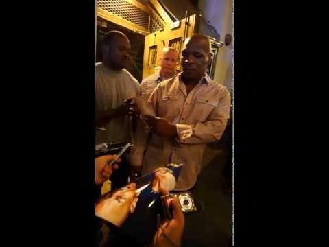 Mike Tyson WBA WBC Champion signing autographs after Undisputed Truth Broadway show