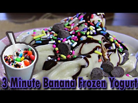 3 Minute Banana Frozen Yogurt | homemade plain yogurt | freezing greek yogurt