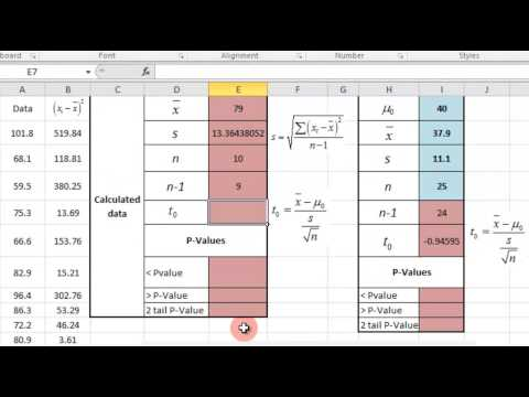 Hypothesis Testing Population Mean - Excel