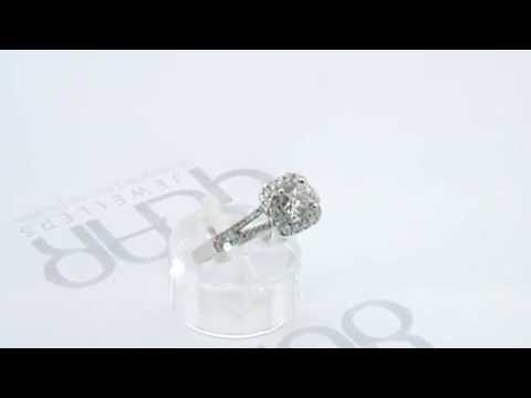 Gear Jewellers Dublin 18ct White Gold Halo Diamond Engagement Ring 0101187