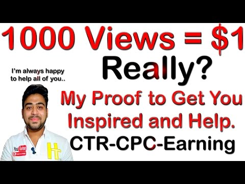 How Much | YouTube Pays Per 1000 Views | In India | 0 CPC | High CTR | My Proof | Hindi