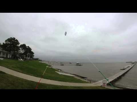 Launching & Flying the Slingshot B-2 Trainer kite in light gusty wind (kiteboarding trainer)