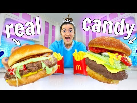 Making FOOD out of CANDY! Candy vs Food Challenge Part 3