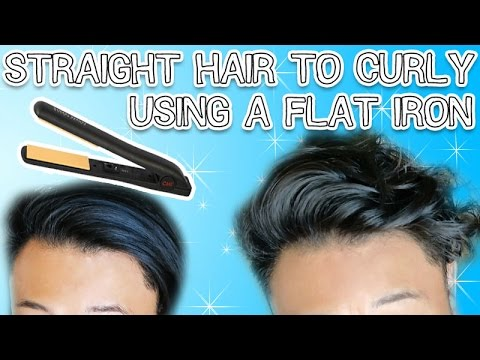 STRAIGHT HAIR TO CURLY USING A FLAT IRON (SUPER EASY) - A MENS HAIR TUTORIAL