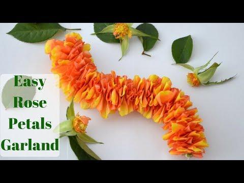 How to make rose petals garland || Easy method flower garland || Rainbow Rangoli