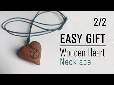 2/2 How To Make Wooden Heart Necklace With Knife - Easy Handmade Gift