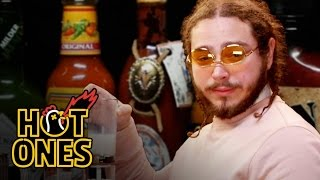 Download Post Malone Sauces on Everyone While Eating Spicy Wings | Hot Ones Video