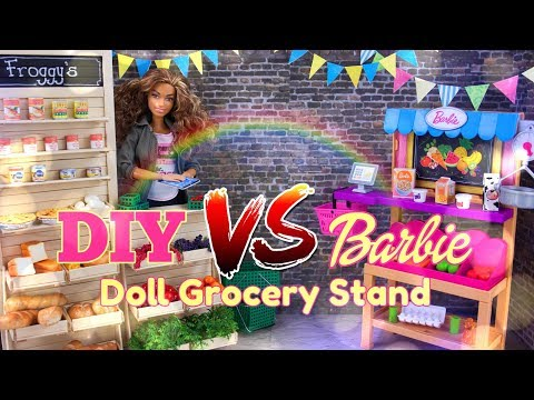 VERSUS: How to Make DIY Doll Grocery Stand VS ALL NEW Barbie Grocery Stand
