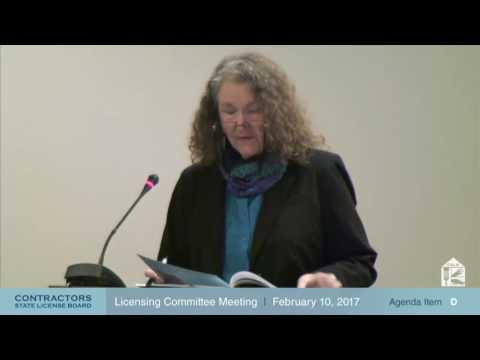 CSLB Licensing Committee Meeting 02.10.17