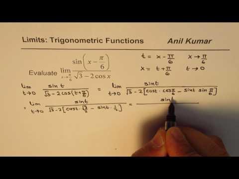 Limit Trigonometric Function sin(x - pi/6)/(sqrt 3 - 2cosx)