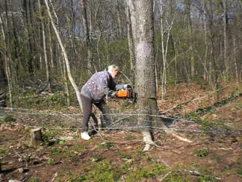 My Mom Cutting Down Trees @ Age 71