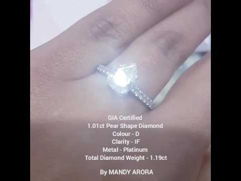 GIA Certified 1.01ct Pear Shape Internally Flawless Diamond Engagement Ring www.mandyarora.com