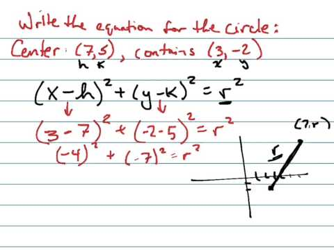 Write the equation for circle with center (7,5), containing (3,-2)