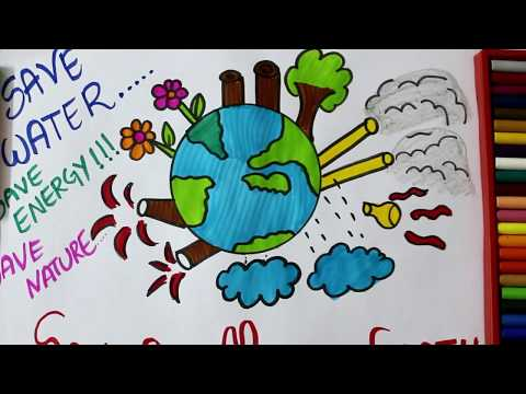 How to Draw Mother Earth Drawing & stop Global Warming for Kids | Save Earth,Save Nature,Save Trees