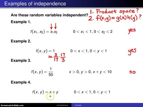 Bivariate random variables independence -- Example 3