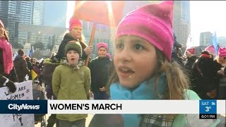 Protesters gather for second Women's March, a year after Trump sworn in