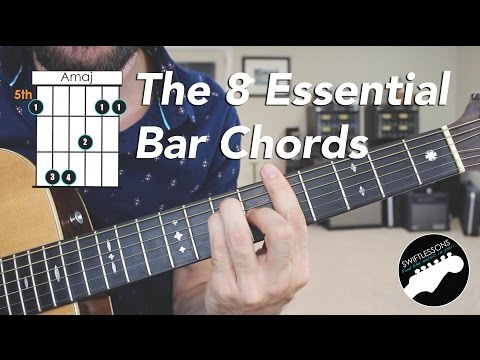 The 8 Essential Bar Chord Shapes  - Easy Beginner Guitar Lesson
