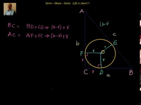 Triangles:   In radius of a right angle triangle