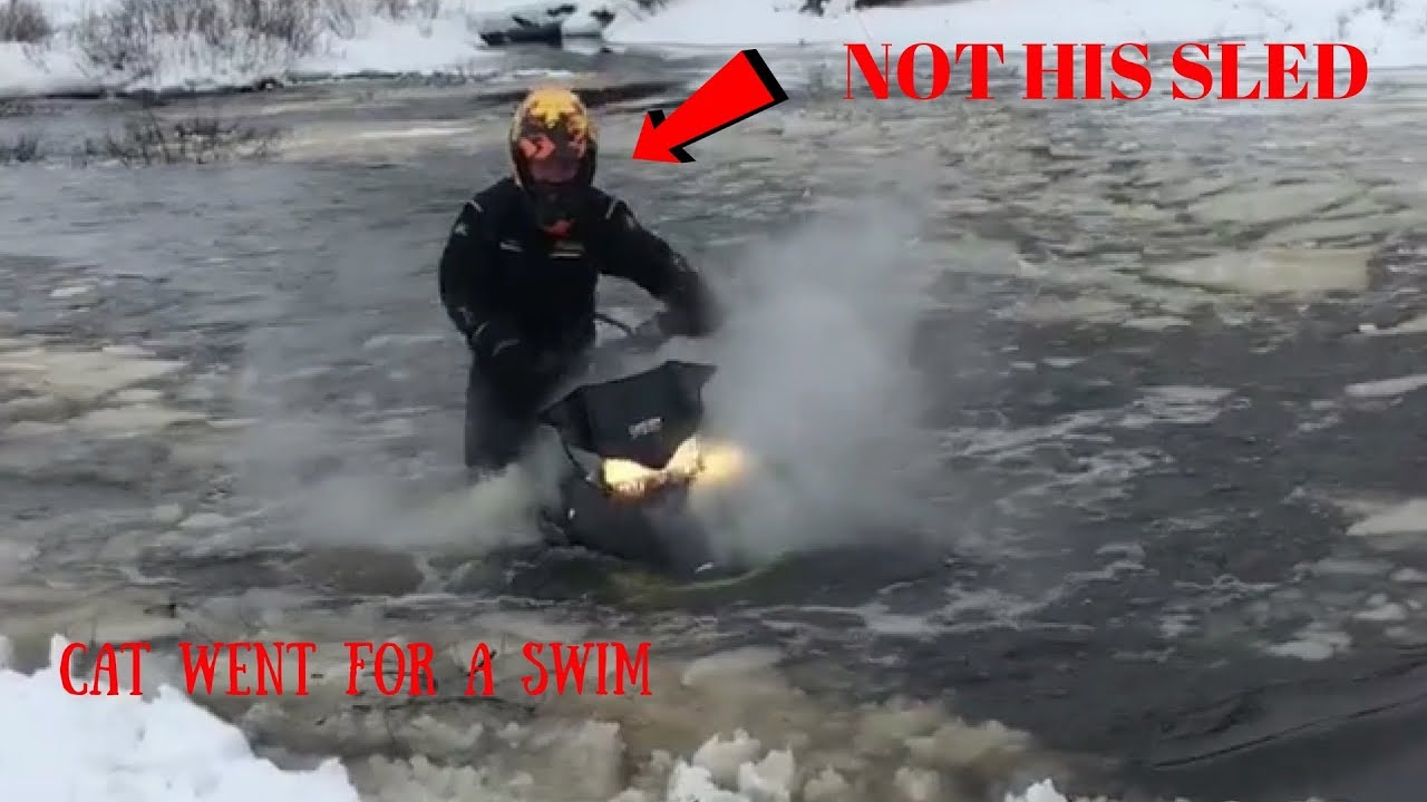SNOWMOBILE WATER SKIPPING FAIL 2018 || WHY YOU DON'T LEND YOUR SLED