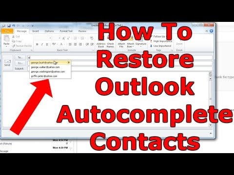 How To Restore Outlook Auto Complete (Outlook 2010)