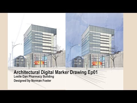 Digital Marker Drawing#001 Leslie Dan Pharmacy Building