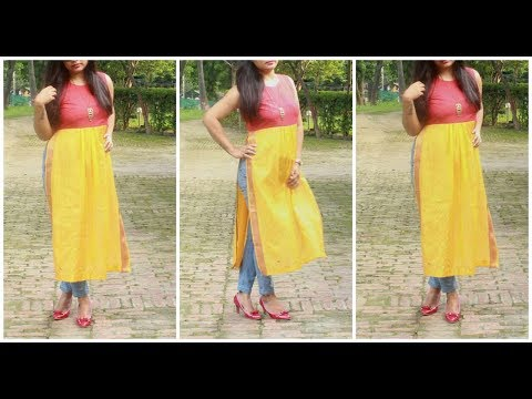 Long slit Stylish Kurti From Old Dupatta And Leftover Fabric | Best Out Of Waste
